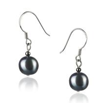 Paar Ohrringe mit schwarzen, 8-9mm großen Süßwasserperlen in A-Qualität , Leonie