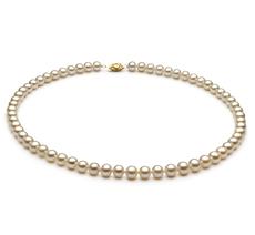 Halskette mit weißen, 6-7mm großen Süßwasserperlen in AA-Qualität , Letifee