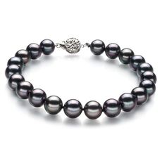 Armreifen mit schwarzen, 8.5-9mm großen Janischen Akoya Perlen in AAA-Qualität , Lisa
