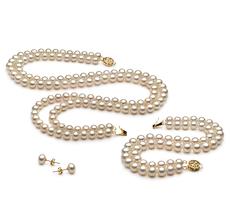 6-7mm AA-Qualität Süßwasser Perlen Set in Liska Weiß