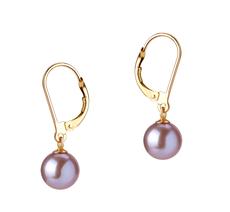 PearlsOnly - Paar Ohrringe mit lavendelfarbenen, 7-8mm großen Süßwasserperlen in , Marcella