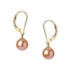 Paar Ohrringe mit rosafarbenen, 7-8mm großen Süßwasserperlen in AAAA-Qualität , Marcella