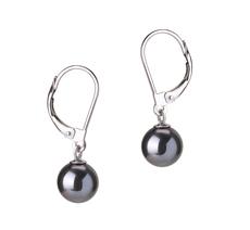 PearlsOnly - Paar Ohrringe mit schwarzen, 7-8mm großen Süßwasserperlen in AAAA-Qualität , Marcella