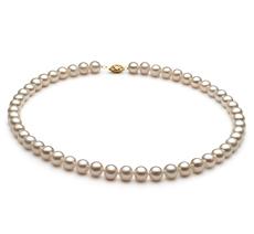 6.5-7.5mm AA-Qualität Süßwasser Perlenhalskette in Marjam Weiß