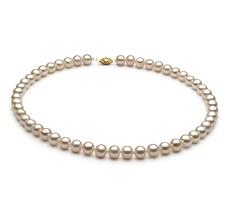 7.5-8.5mm AA-Qualität Süßwasser Perlenhalskette in Marjam Weiß