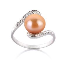 PearlsOnly - Ring mit rosafarbenen, 9-10mm großen Süßwasserperlen in AA-Qualität , Marlene