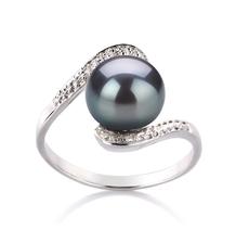 PearlsOnly - Ring mit schwarzen, 9-10mm großen Süßwasserperlen in AA-Qualität , Marlene