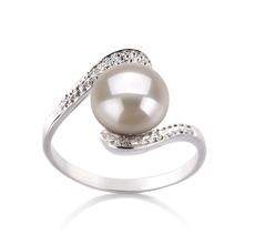 9-10mm AA-Qualität Süßwasser Perlenringe in Marlene Weiß