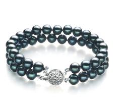 Armreifen mit schwarzen, 6-7mm großen Janischen Akoya Perlen in AA-Qualität , Mayra