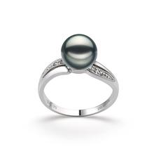 Ring mit schwarzen, 7-8mm großen Janischen Akoya Perlen in AAA-Qualität , Meike