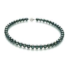 Halskette mit schwarzen, 8.5-9mm großen Janischen Akoya Perlen in AA-Qualität , Mia