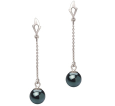 Paar Ohrringe mit schwarzen, 6-7mm großen Janischen Akoya Perlen in AA-Qualität , Michelle