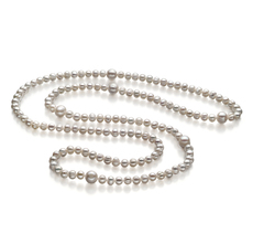6-11mm A-Qualität Süßwasser Perlenhalskette in Mira Weiß