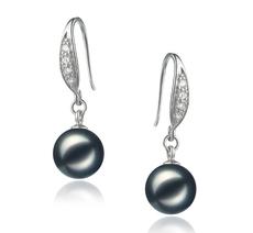 PearlsOnly - Paar Ohrringe mit schwarzen, 8-9mm großen Janischen Akoya Perlen in AA-Qualität , Miriam