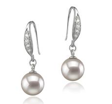 PearlsOnly - Paar Ohrringe mit weißen, 8-9mm großen Janischen Akoya Perlen in AA-Qualität , Miriam