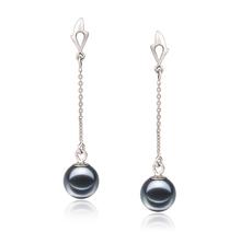 PearlsOnly - Paar Ohrringe mit schwarzen, 6-7mm großen Süßwasserperlen in , Misha