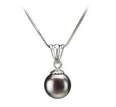 9-10mm AA-Qualität Süßwasser Perlenanhänger in Nancy Schwarz