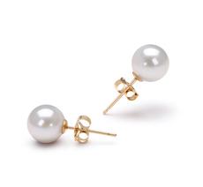 Paar Ohrringe mit weißen, 6.5-7mm großen Janischen Akoya Perlen in AAA-Qualität , Nellina