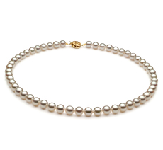 Halskette mit weißen, 6.5-7mm großen Janischen Akoya Perlen in AAA-Qualität , Nevia