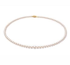 Halskette mit weißen, 3.7-7.5mm großen Janischen Akoya Perlen in AAA-Qualität , Nevia