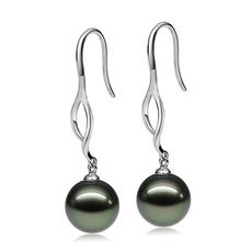 Paar Ohrringe mit schwarzen, 9-10mm großen Tihitianischen Perlen in AAA-Qualität , Olivia Dangle