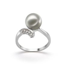 PearlsOnly - Ring mit weißen, 8-9mm großen Janischen Akoya Perlen in AA-Qualität , Olivia