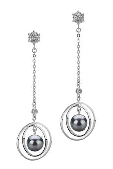 Paar Ohrringe mit schwarzen, 6-7mm großen Janischen Akoya Perlen in AA-Qualität , Paula