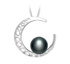 9-10mm AAA-Qualität Süßwasser Perlenanhänger in Mond Schwarz