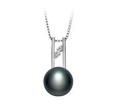 9-10mm AA-Qualität Süßwasser Perlenanhänger in Hiriko Schwarz