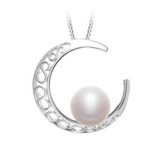 9-10mm AAA-Qualität Süßwasser Perlenanhänger in Mond Weiß