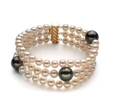 Armreifen mit schwarzen and weißen, 5-11mm großen Tahitianischen Perlen und Süßwasserperlen in AA-Qualität