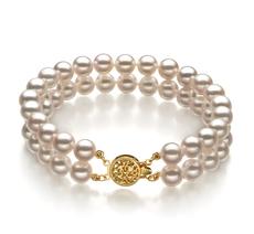 Armreifen mit weißen, 6-7mm großen Janischen Akoya Perlen in AA-Qualität