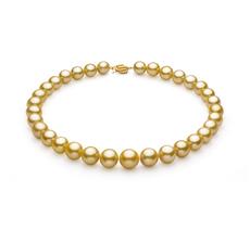 Halskette mit goldfarbenen, 11.53-15.2mm großen Südseeperlen in AAA+-Qualität