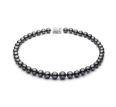 9.5-11mm AAA-Qualität Tahitisch Perlenhalskette in Schwarz