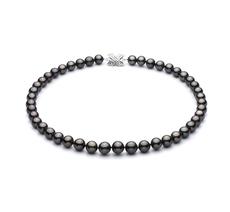 9.2-10.9mm AAA-Qualität Tahitisch Perlenhalskette in Schwarz