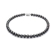 9.1-11mm AA+-Qualität Tahitisch Perlenhalskette in Schwarz