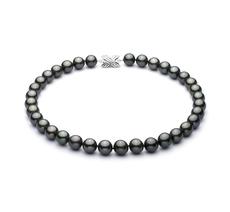 PearlsOnly - Halskette mit schwarzen, 11.1-12mm großen Tihitianischen Perlen in