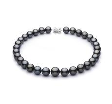 PearlsOnly - Halskette mit schwarzen, 13.1-16mm großen Tihitianischen Perlen in