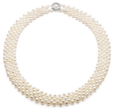 Halskette mit weißen, 3-4mm großen Süßwasserperlen in AA-Qualität , Reihe fünf
