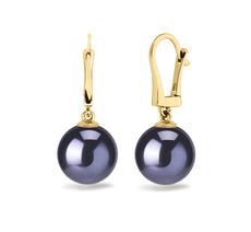 Paar Ohrringe mit schwarzen, 8-9mm großen Süßwasserperlen in AAAA-Qualität , Elements