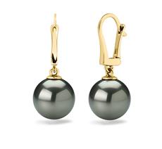 Paar Ohrringe mit schwarzen, 10-11mm großen Tihitianischen Perlen in AAA-Qualität , Elements