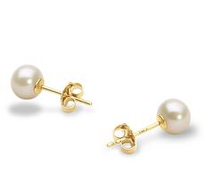 PearlsOnly - Paar Ohrringe mit weißen, 5-6mm großen Süßwasserperlen in AAA-Qualität