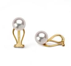 Paar Ohrringe mit weißen, 7-8mm großen Süßwasserperlen in AAAA-Qualität