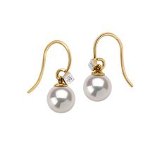 Paar Ohrringe mit weißen, 7-8mm großen Süßwasserperlen in AAAA-Qualität , Artsy