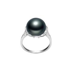 Ring mit schwarzen, 11-12mm großen Süßwasserperlen in AAA-Qualität , Kalina