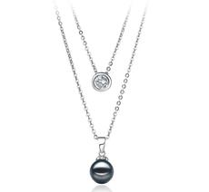 Halskette mit schwarzen, 7-8mm großen Janischen Akoya Perlen in AA-Qualität , Ramona