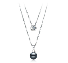 PearlsOnly - Halskette mit schwarzen, 7-8mm großen Süßwasserperlen in AAAA-Qualität , Ramona