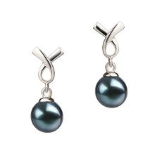 Paar Ohrringe mit schwarzen, 6-7mm großen Janischen Akoya Perlen in AA-Qualität , Regina