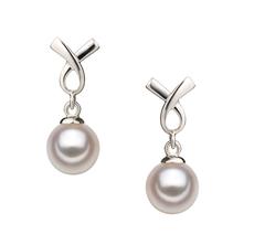 Paar Ohrringe mit weißen, 6-7mm großen Janischen Akoya Perlen in AA-Qualität , Regina