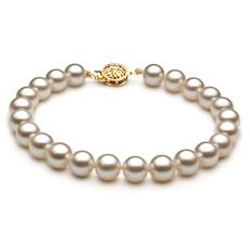 Armreifen mit weißen, 7.5-8mm großen Janischen Akoya Perlen in AAA-Qualität , Rosalia